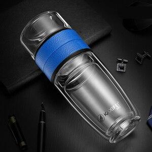 Image 3 - Zooobe 私二重壁ガラス茶水ボトル茶注入器ガラスタンブラーステンレス鋼フィルターポータブル商務ギフト