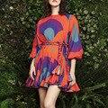 Лидер продаж, женское платье, сезон, новая модная плиссированная трапециевидная юбка с принтом, коротким поясом и рукавами-фонариками