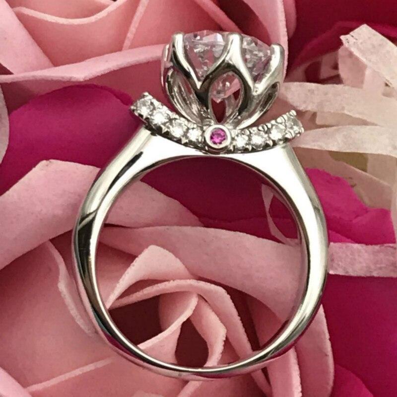 S925 bagues en argent Sterling 2 carats AAAAA haute qualité Zircon cubique couronne broche réglage bagues de mariage pour les femmes bijoux classiques - 2