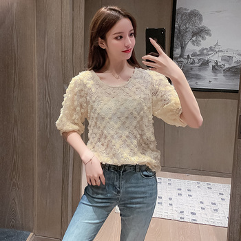 COIGARSAM Floral blouse women Short Lace Puff Sleeve Mesh blusas womens tops and blouses White Pink Apricot 6829 printio white and pink