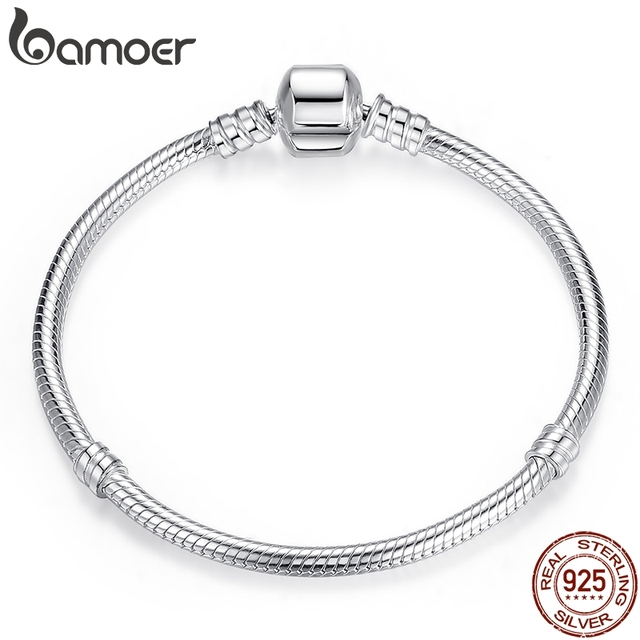 BAMOER TOP SALE Authentic 100% 925 Sterling Silver Snake Chain Bangle & Bracelet for Women Luxury Jewelry 17 20CM PAS902