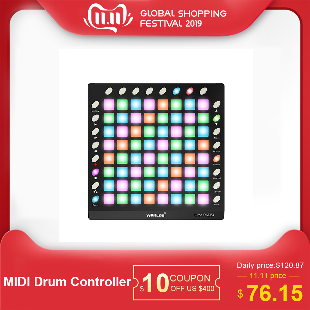 WORLDE PAD48/64 Portable USB MIDI Drum Pad Controller 3 Specifications Backlight Pad With USB Cable Slider MIDI Controller