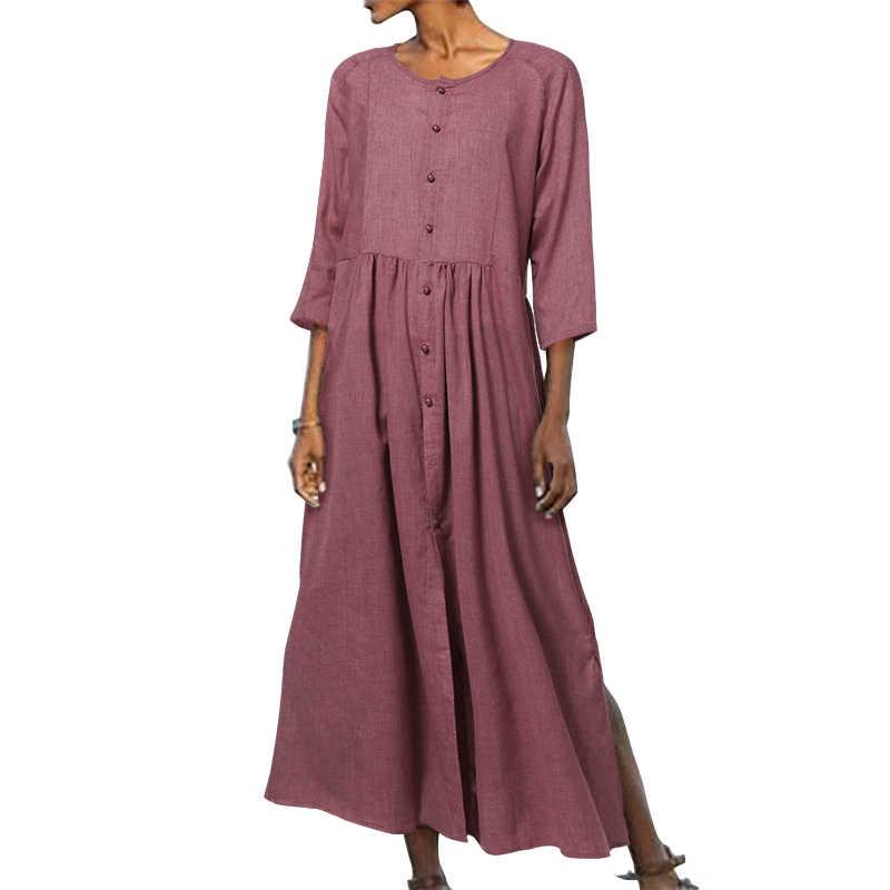 VONDA Vintage hamile elbisesi 2019 kadın seksi düğmeler bölünmüş Hem parti gevşek elbise plaj Vestidos Bohemian elbise S-5XL Sundress