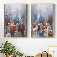 Настенная картина с изображением дерева леса растений оленей