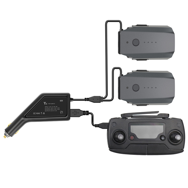 Outdoor Dual Battery Car Charger Fast Charging Intelligent Battery Charger with USB Port Remote Controller for DJI Mavic Pro