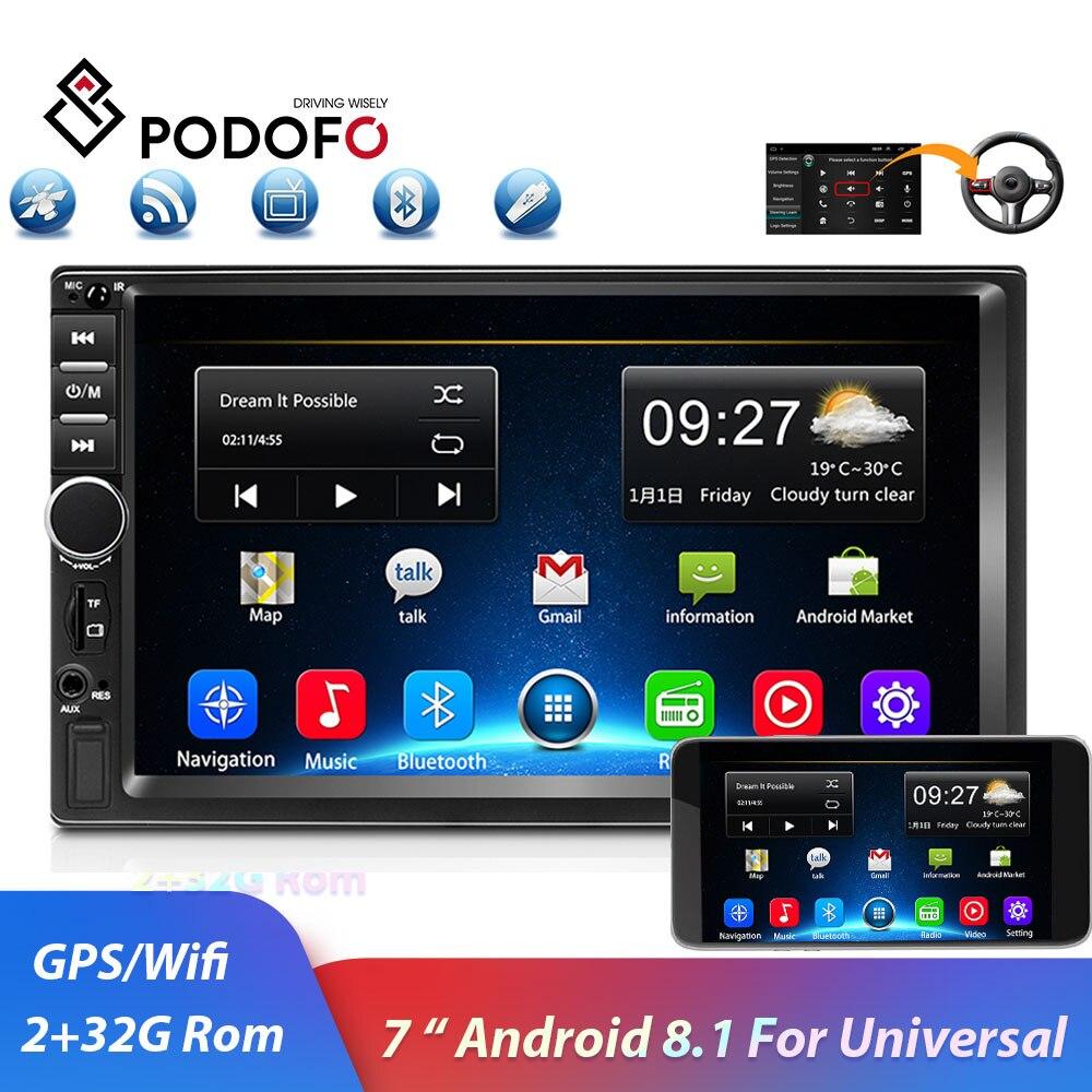 Podofo 2din autoradio Android GPS Navi Wifi voiture lecteur multimédia universel auto stéréo pour Volkswagen Nissan Hyundai Kia toyota
