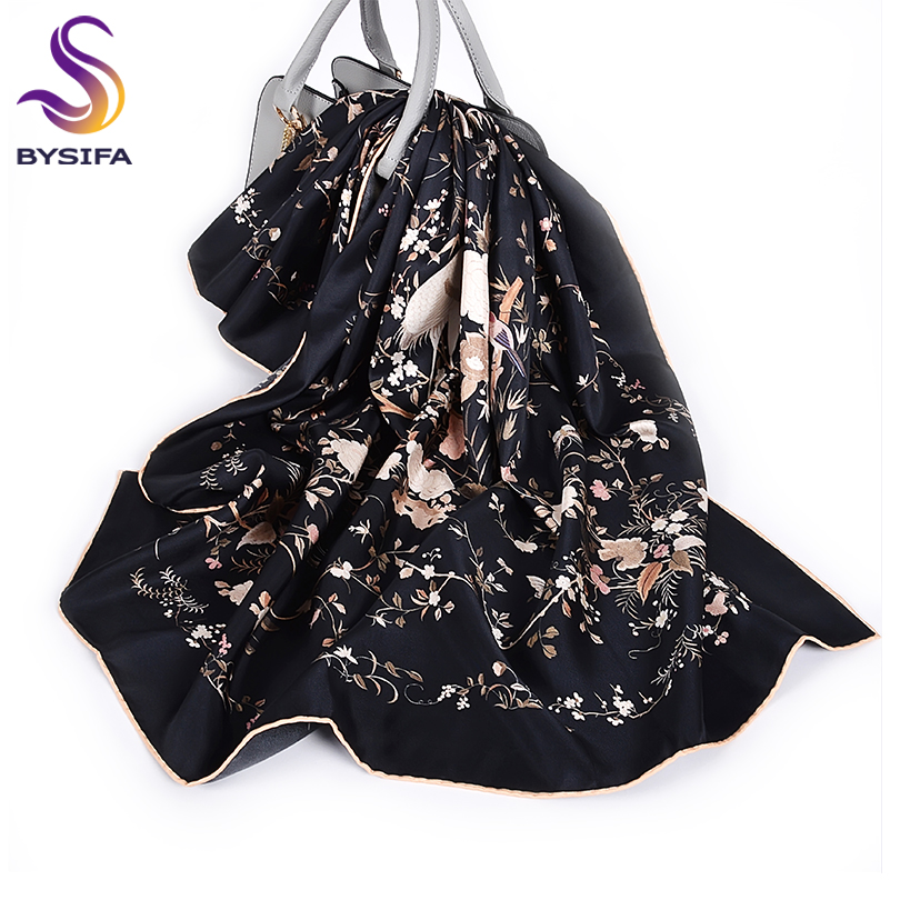 [BYSIFA] New Luxury Pure Silk Scarf Shawl Women Black Twill Large Square Scarves Fall Winter Ladies Neck Scarves Hijabs 88*88cm
