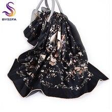 [BYSIFA] 새로운 럭셔리 순수 실크 스카프 목도리 여성 블랙 능 직물 대형 스카프 가을 겨울 숙녀 목 스카프 Hijabs 88*88cm