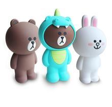 Trousse en silicone pour dessin animé contenant des sacs à crayons Kawaii mignon ours brun lapin trousse à crayons 3D fournitures scolaires cadeaux de papeterie