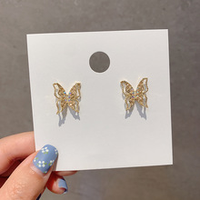 2020 Fashion Stud Earrings Elegant Butterfly Design Rhinestones Earrings For Women Accessories Jewelry Luxury Women Earrings elegant crystal rhinestones stud earrings for women accessories jewelry fashion women earrings statement girl gift