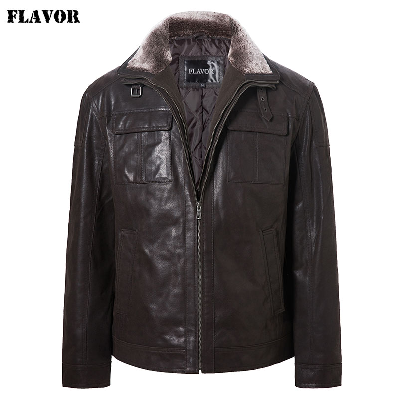 FLAVOR Men's Real Leather Jacket Filling Cotton Men Winter Warm Coat With Removable Fur Collar