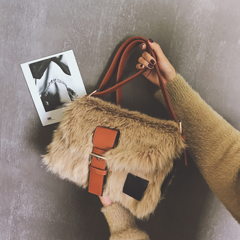 New Winter Fashion Square bag Soft Plush Women's Shoulder Bag High quality  Designer Handbag Casual  Sweet Girl Messenger bag