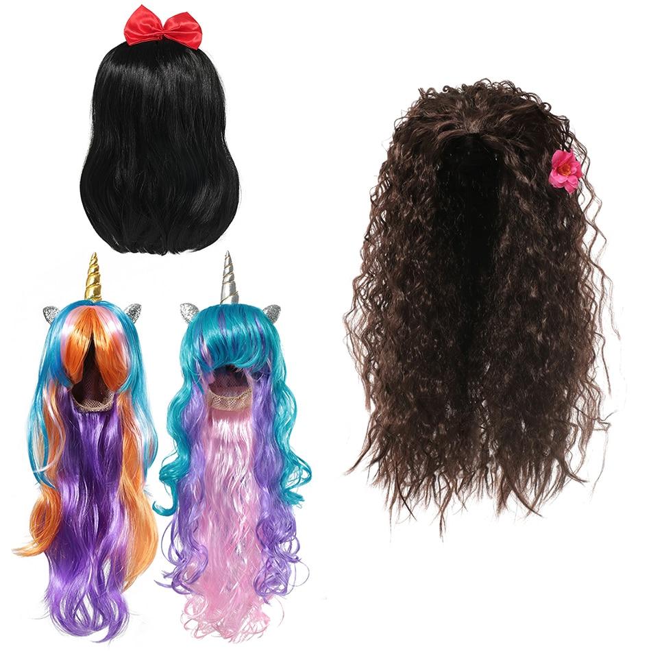 Girls Cosplay Cartoon Princess Wig Moana Fairy Tale Children Rapunzel Ariel Elsa Anna Snow White Jasmine Wig Falsa Hair