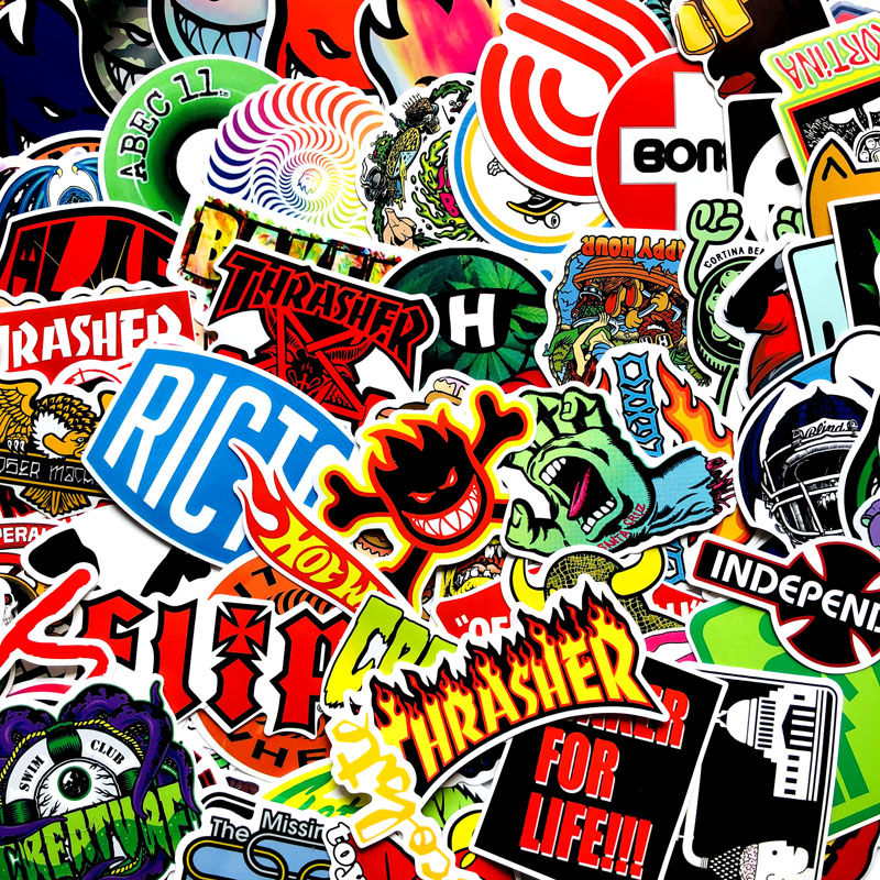 Image 4 - 100 PCS Skateboard Fashion brand Logo Waterproof Sticker For Luggage Guaitar Skateboard Phone Laptop Moto Bicycle Car Stickers-in Car Stickers from Automobiles & Motorcycles