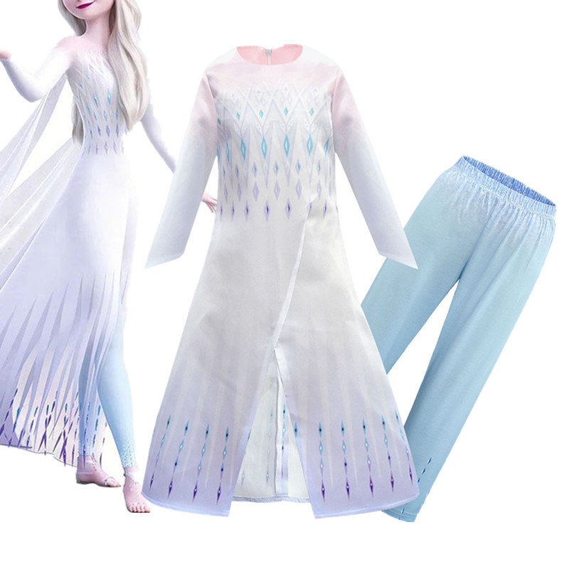 Snow Queen 2  Princess Dress Anna Elsa 2 Carnival Costume Child Christmas Brithday Party Clothing Kids Cosplay Elza 2 Dress