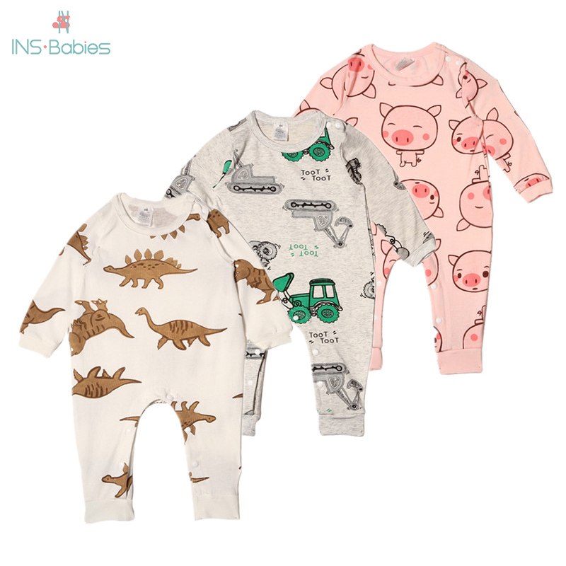 2020 NEW Spring Baby Clothes For Girls And Boys Cotton Newborn Baby Clothes Girl Long Sleeve Boys Romper Animal Climbing Pajamas