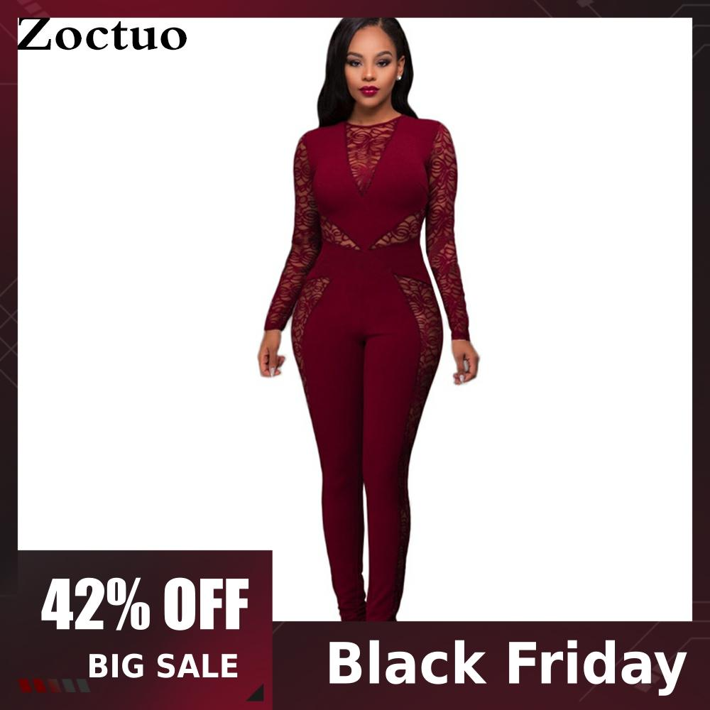 Zoctuo Women Lace Hollow Out Jumpsuit Patchwork Sexy High Waist Pencil Pants Zipper Night Club Evening Rompers