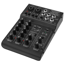 ammoon AGM04 4-Channel Mini Mixing Console Digital Audio Mixer 2-band EQ Built-in 48V Phantom Power 5V USB Powered mixer audio