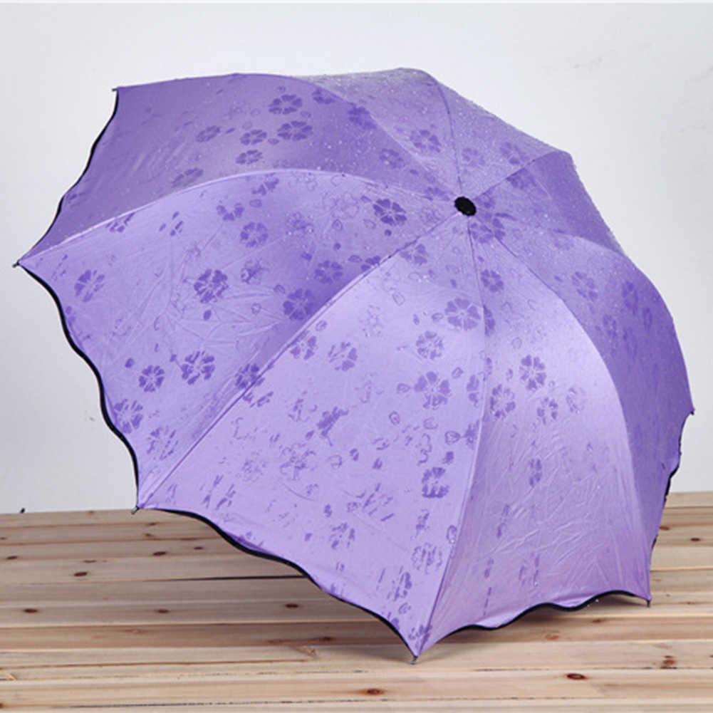 في الهواء الطلق دائم التلقائي المظلات المحمولة زهرة نمط الثلاثي مظلة قابلة للطي مكافحة الشمس المظلة المضادة للأشعة فوق البنفسجية مظلة