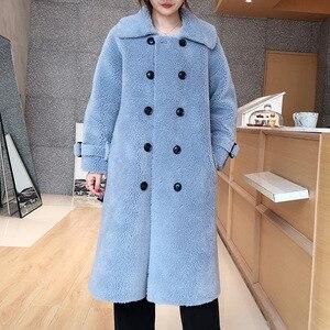 Image 4 - Женское пальто из овечьей шерсти [DEAT], черное пальто из овечьей шерсти с отложным воротником и поясом, с длинным рукавом, толстое, с поясом, AI773, зима 2020