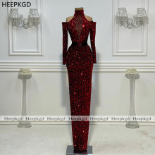 Evening-Dress Occasion Sequin Crystal Sparkly Long-Sleeves Burgundy Formal Black New