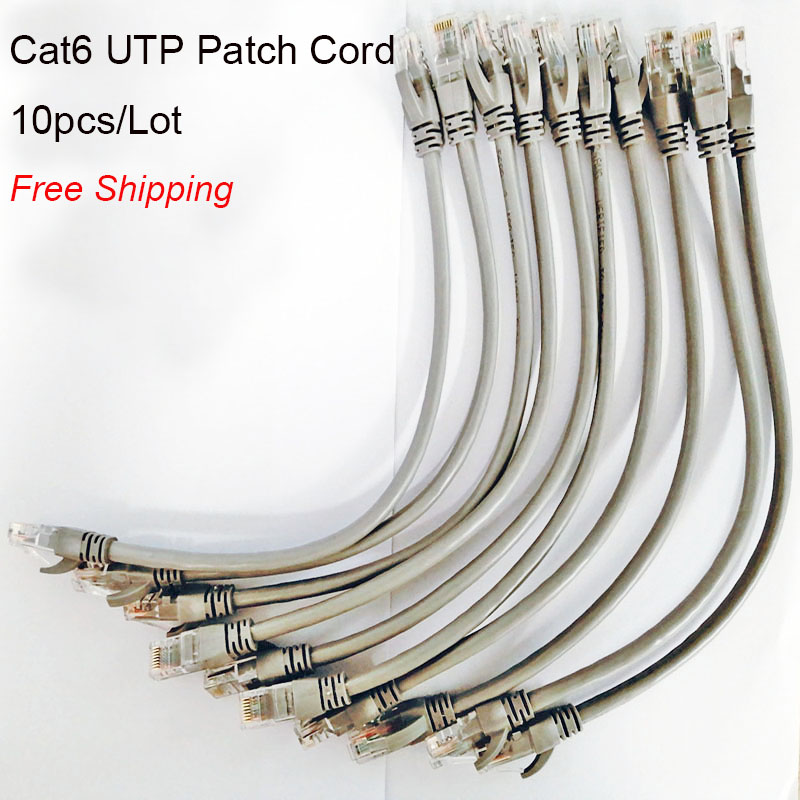 Free Shipping 10pcs lot 0 5ft 0 65FT 1FT CAT6 UTP Round Cable Ethernet Cables Network Wire Cable RJ45 Patch Cord Black Lan Cable