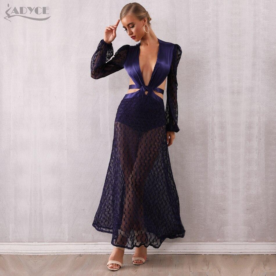 Adyce 2019 ใหม่ฤดูหนาวผู้หญิง Bodycon Luxury Celebrity Vestidos Elegant ลูกไม้ลึก V แขนยาว Hollow Out Club ชุด-ใน ชุดเดรส จาก เสื้อผ้าสตรี บน   1