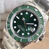 Reloj Automático para hombre, cerradura de deslizamiento de acero inoxidable 904L, cristal de zafiro, informal, negocios, engaste de cerámica verde, A2813