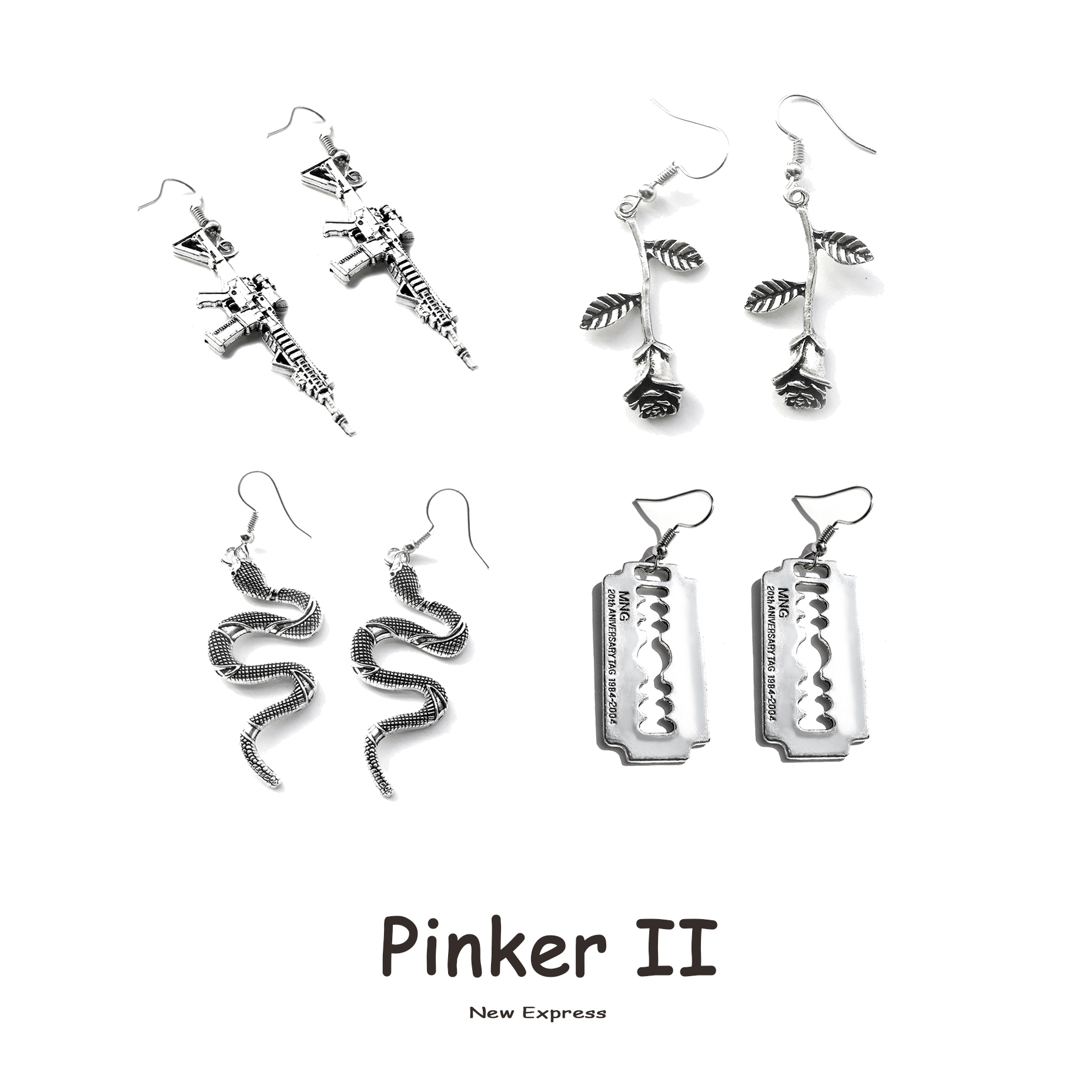 25 Style Earrings for Women Girls Drop Dangle Snake Rose Blade Gun Teens Charm Gift Accessories Party Jewelry Simple