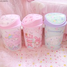 My Melody Cinnamoroll Pudding Dog Little Twin Star Action Figure Cartoon Household Trash Can With Lid Kitchen Bathroom Waste Bin