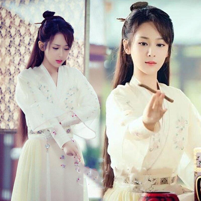 White Embroidery Super Fairy Female Costume Hanfu JinMi YangZi Fairy Costume For Newest TV Play Xiang Mi Chen Chen Jin Ru Shuang