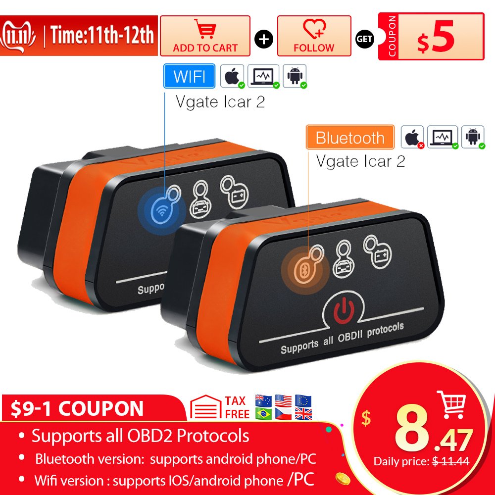 Vgate iCar2 ELM327 Wifi OBD2 Diagnostic-Tool for IOS iPhone iPad Android Vgate icar 2 wifi ELM 327 OBD II Code Reader 7 colors