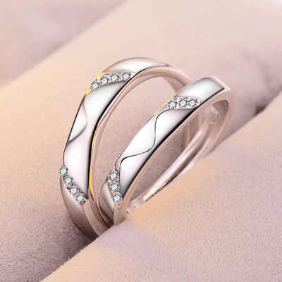 1 Set Sell Adjustable Lovers Zircon Engagement Rings for Women Fashion Silver Color Wedding Rings Austrian Crystals Rings