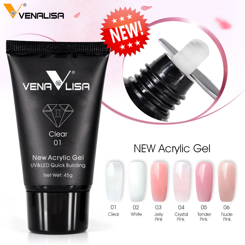 Venalisa poly nail gel 45/30g nail design builder nail gel acrylic transparent crystal coumuflage nail extend jelly gel polish(China)