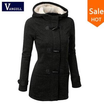 Autumn Hooded Horn Button Coat Women Winter Parkas Grey Outwear 2020 New Fashion Long Overcoat S-XL
