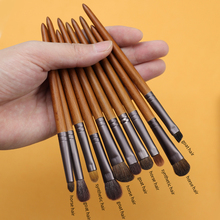 OVW 15 pcs Saikoho Goat Hair Makeup Brush Set Portable kit for Powder Foundation Eyeshadow Blending Shader Brushes Tools Pony