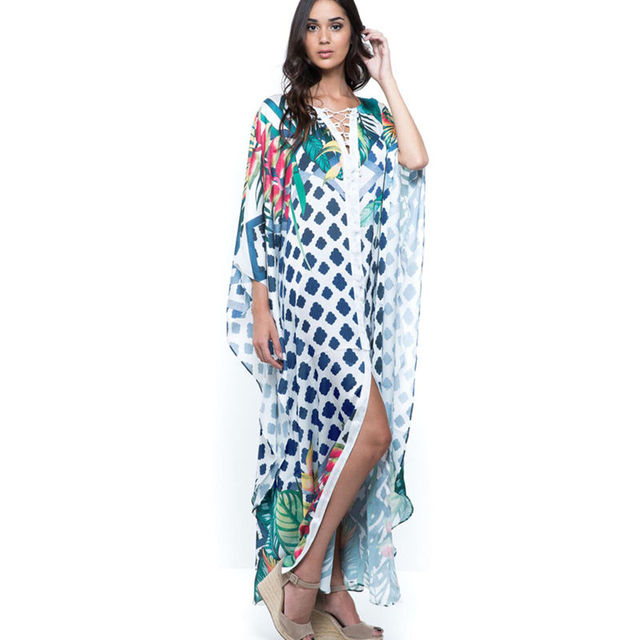 2020 Quick drying Bikini Cover ups Bohemian Geometric Printed Summer Beach Dress Green Cotton Tunic Women Swimwear Cover Up Q994