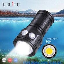 Linterna de buceo de gran alcance IPX8, luz Led para fotografía subacuática, 80m, 12800mah, COB, luz para buceo multifunción