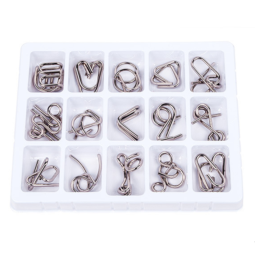 15PCS Kids Game Classic Toy Educational Metal Wire Puzzle Mind Brain Teaser Puzzles Game For Adults Children  about 23*18*2.7cm