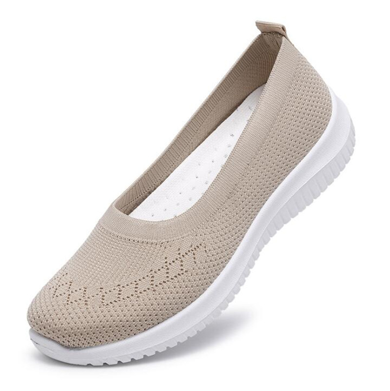 2020 Hot Sale Women's Flat Shoes Summer Mesh Breathable Casual Flats Sneakers Ladies Knitting Shallow Comfort Walking Shoes