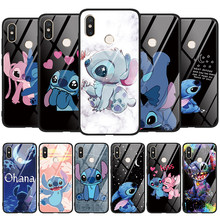 Stitch Tempered Glass Case For Xiaomi Mi Redmi Note 9 S 10 Lite 8T 8 T 7 6 5 K20 K30 Pro Max A3 Lite CC9 CC9e Cute Cartoon Cover(China)