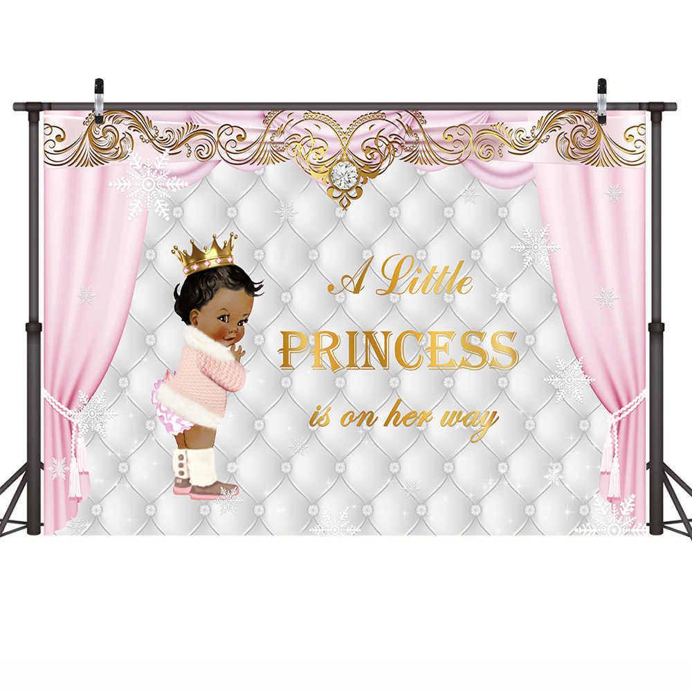 Baby Dusche Hintergrund Ethnische Kleine Prinzessin Fotografie Kulissen Winter Wunderland Foto Hintergrund Neugeborenen Krone Rosa Vorhang