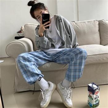 Women Plaid Print Pants High Waist Streetwear Elastic Waist Hem Straight Lounge Jogger Pants Casual Loose Drawstring Sweatpants