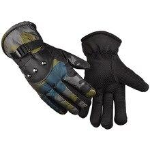 Men Women Windproof waterproof Warm Cycling Ski Snow Full Finger Waterproof Anti-Cold Mitten Adjustable camouflage ski gloves