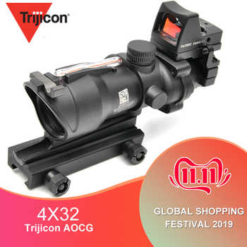 Trijicon ACOG 4X32 Scope Cahevron Reticle Fiber Green Red Illuminated With RMR Mirco Red Dot Sight Tactical Hunting Riflescope - DISCOUNT ITEM  19% OFF All Category