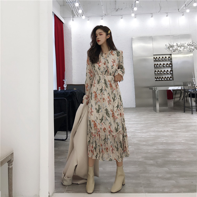 Robe femmes Vintage col en V imprimé Floral à volants ourlet ceintures plissé Boho Maxi longues robes Vestidos Robe Pull Femme Hiver