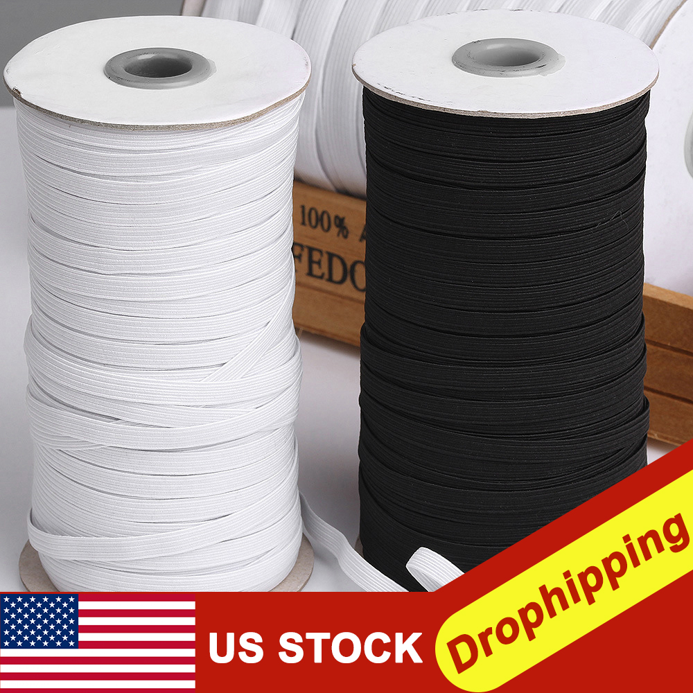 black Beading NEW109-Yards Length 1//5 Width Braided Elastic Cord//Elastic Band//Elastic Rope//Bungee//Heavy Stretch High Elasticity Knit Spool for Sewing Crafts//Sewing Elastic for Jewellery Making