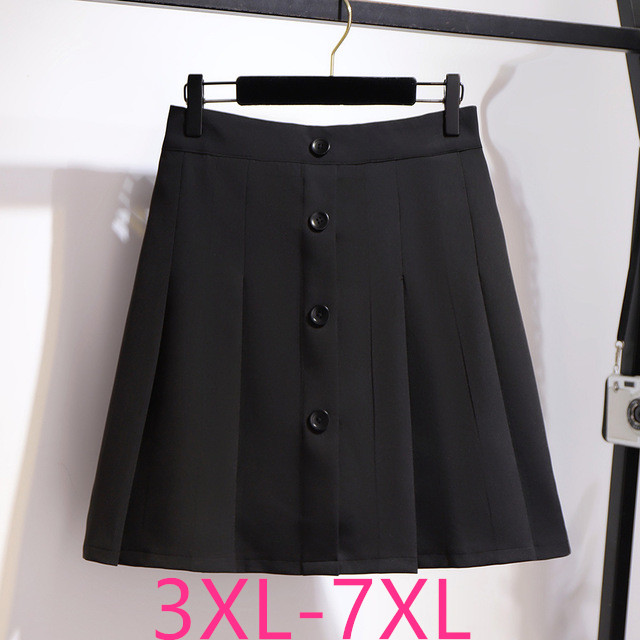 2020 New Spring Summer Plus Size Skirt For Women Large Loose Casual Elastic Waist Elegant Pleated Skirts Black 4XL 5XL 6XL 7XL