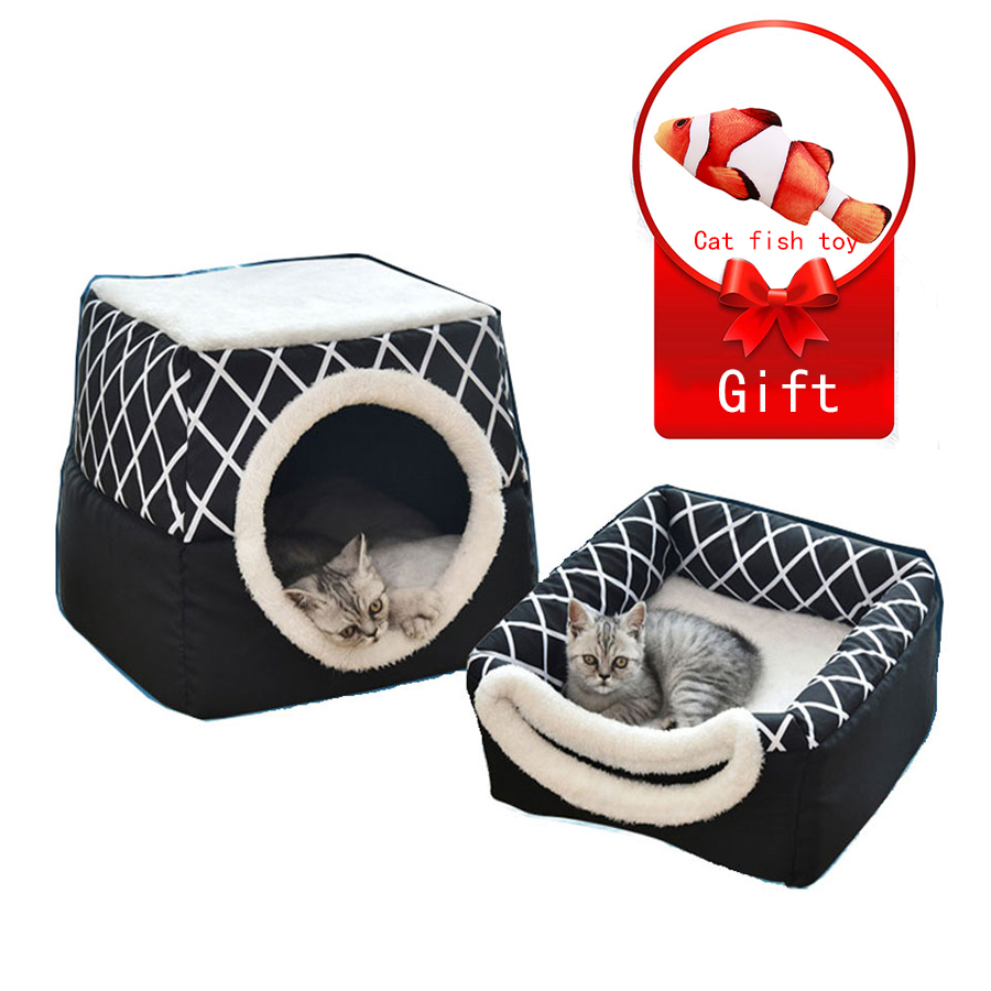 Cat Bed Foldable Winter Soft Warm Tent Washable Puppy Cat Sleeping Bag Basket Mat Plaid  House Kennel Cat Supplies