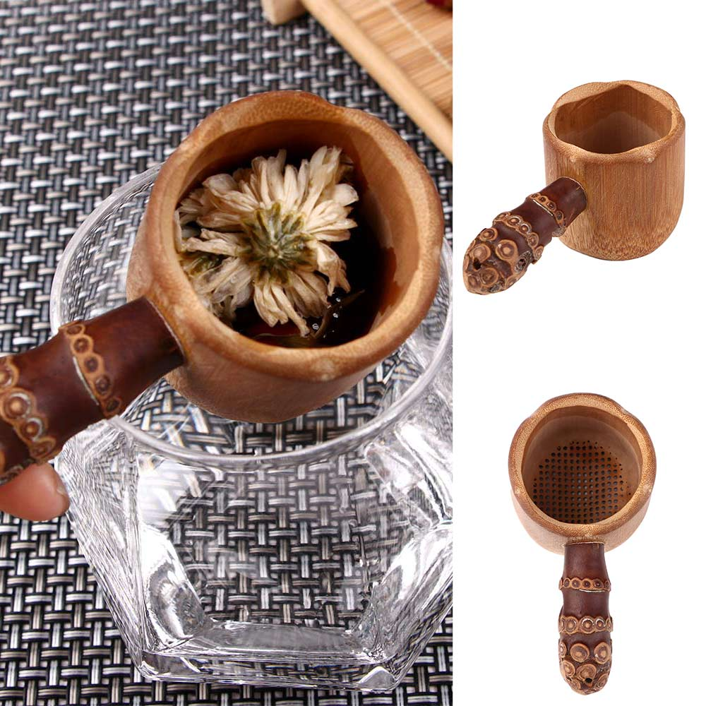 Natural Bamboo Tea Strainer Infuser Filter Tea Tools Sieve For Tea Brewing Tea Drinkware Accessories Colander Gadgets